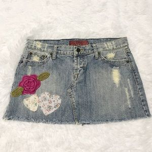 Hot Kiss Skirts - Size 28 distressed patch embellished mini skirt